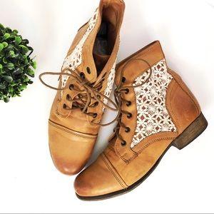Steve Madden tan lace up boots crochet detail